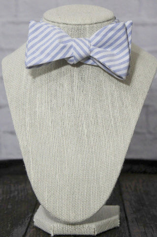 Wild Roses Boutique Blue Striped Bow Tie