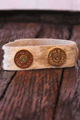 Wild Roses Boutique Gold Splash Shotgun Shell Bracelet Cuff