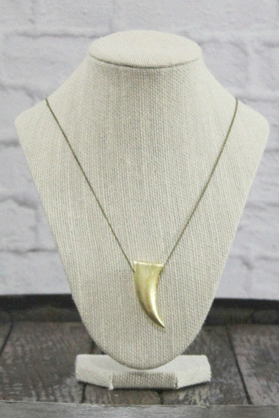 Wild Roses Boutique Gold Tusk Necklace