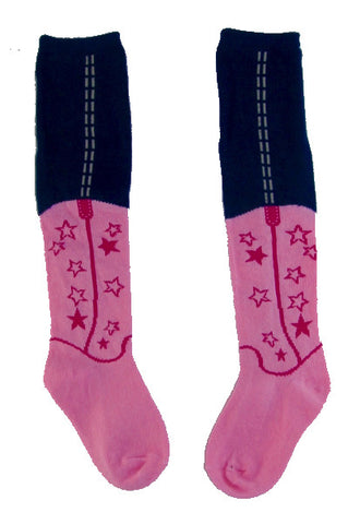 Light pink star cowboy boot baby sock leggings
