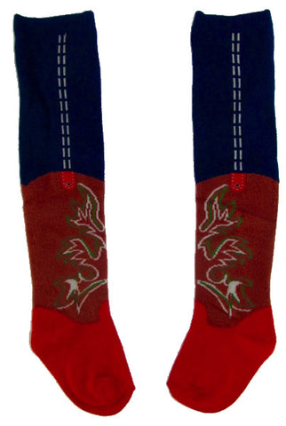 Red Cowboy Boot Baby Socks