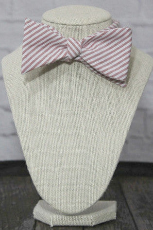 Wild Roses Red Striped Men's Bow Tie