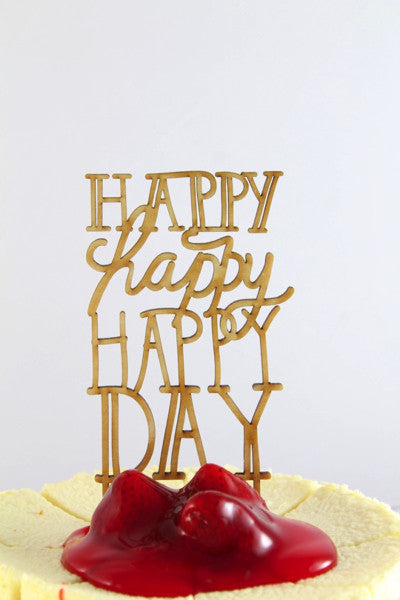 Happy Day Wooden Cake Topper