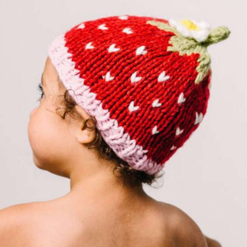 Knit Strawberry Hat, Red, with flower size small