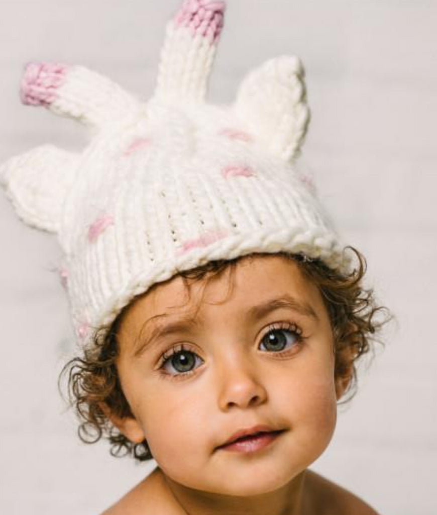 Cream and pink giraffe hat for baby child and photography