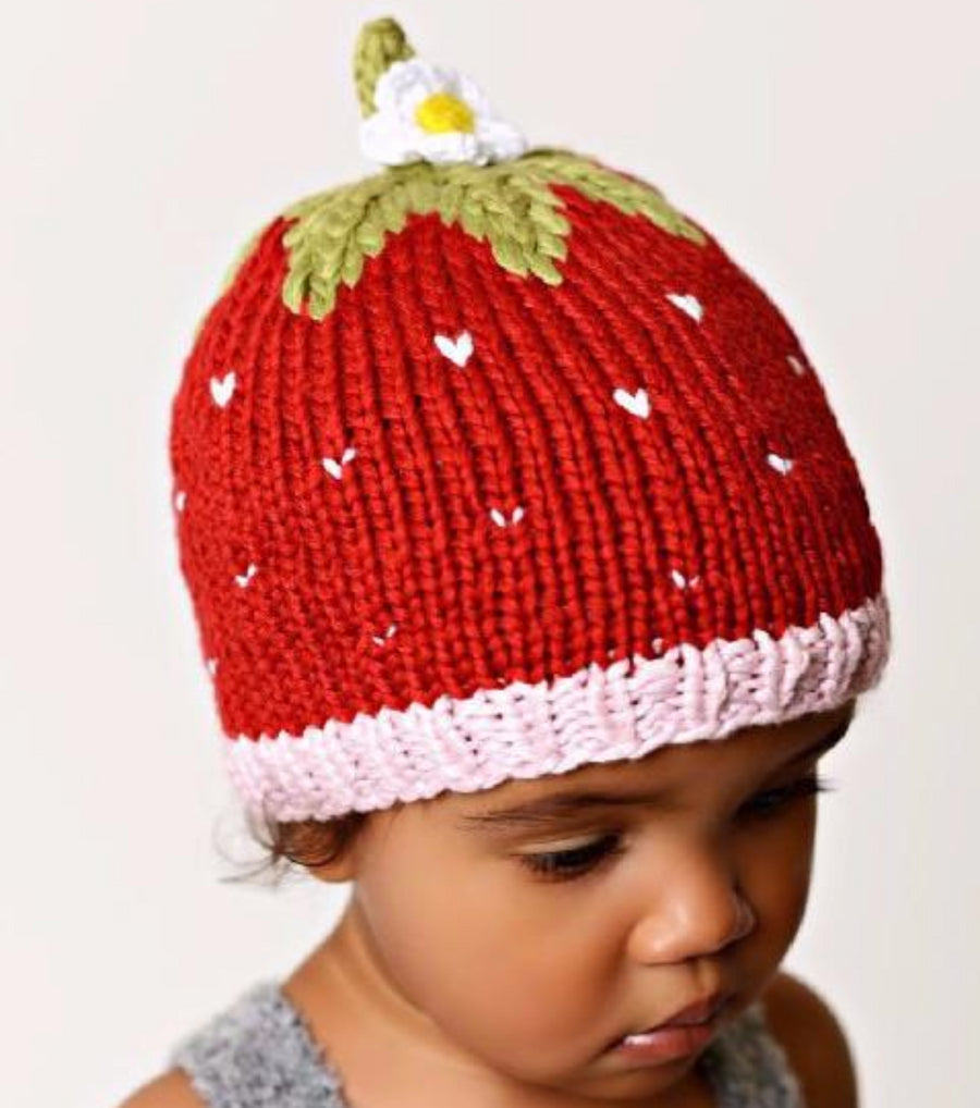 Bamboo strawberry hat red with flower