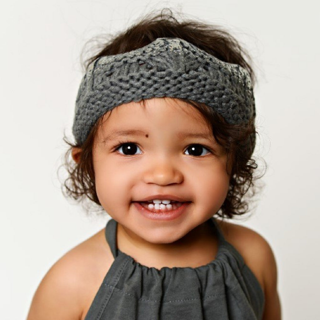 hand crochet crown for baby and toddler with metallic accent in gray with silver