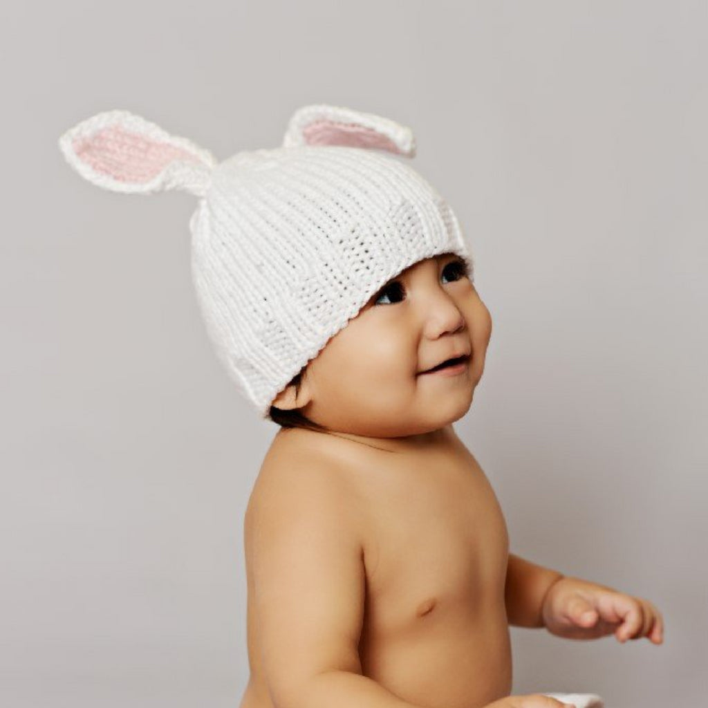 bamboo cotton blend white bunny hat with pink ears for baby infant toddler child for easter holiday