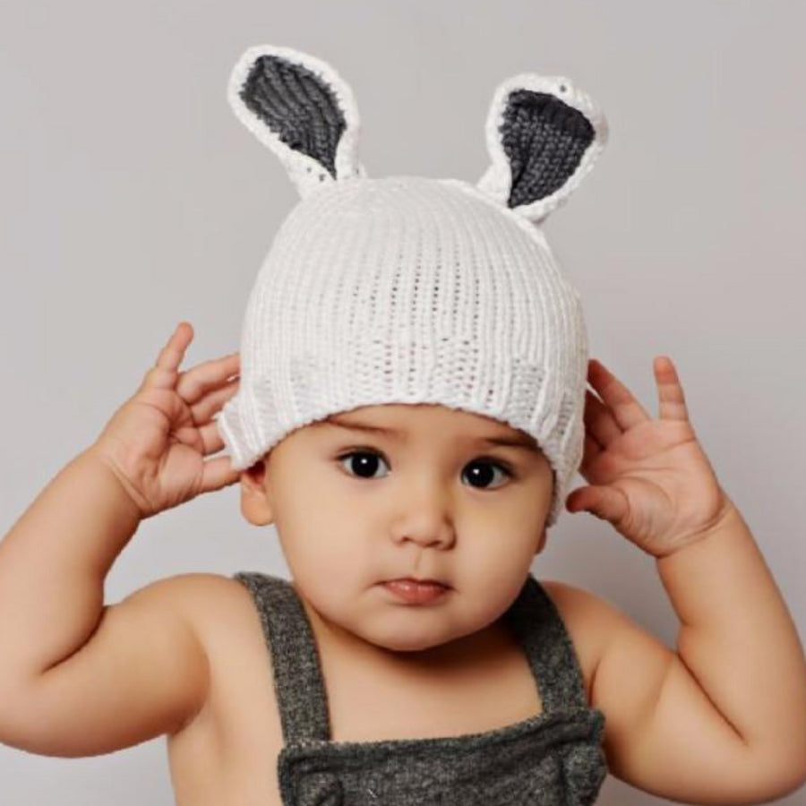 Bamboo Bunny hat white with gray ears