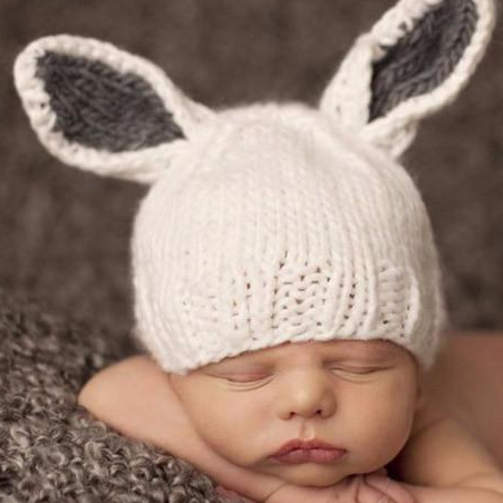 Bunny hat white with gray ears