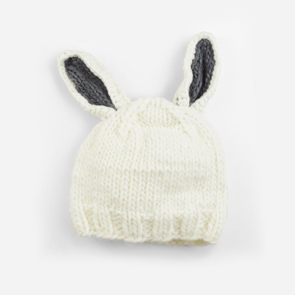 White bunny hat with gray ears