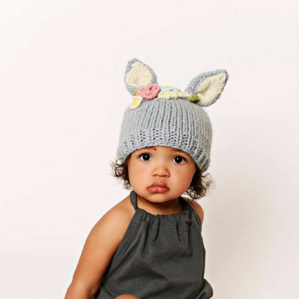 e7edc66fe3bd39 gray bunny hat with cream ears and pink, cream, and blue flowers for baby
