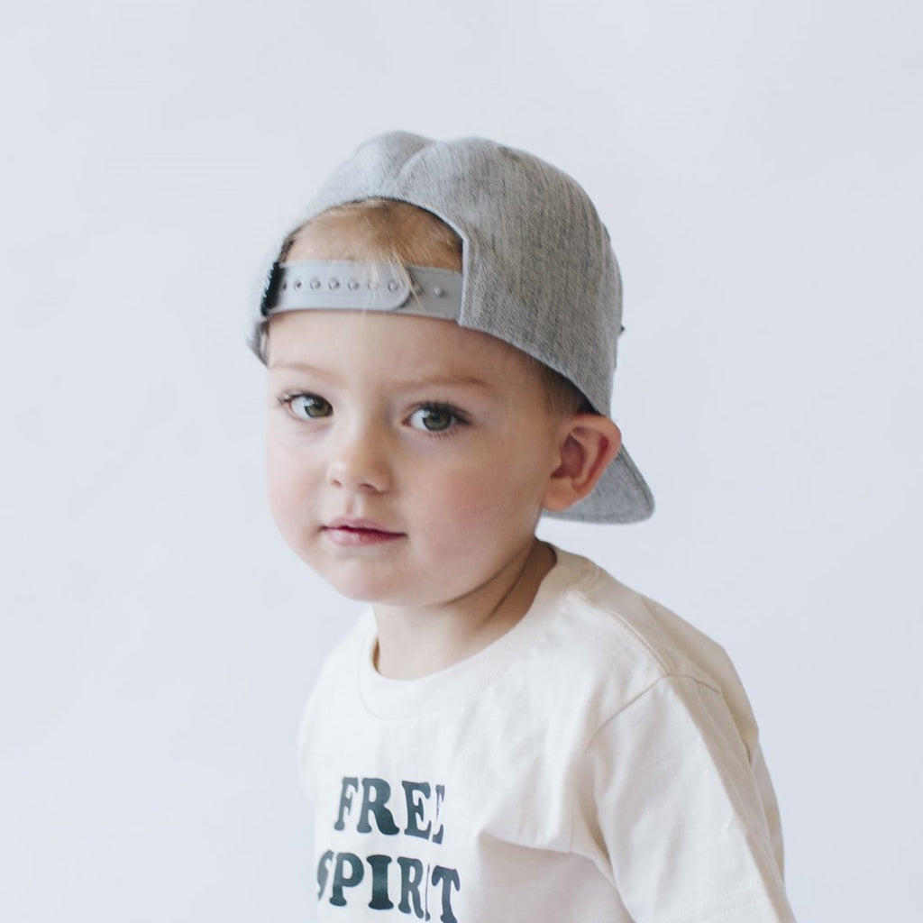 gray snapback hat with bison sublimation print on front panel for infant toddler child boys
