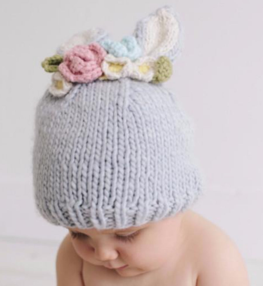 gray bunny hat with cream ears and pink, cream, and blue flowers for baby infant toddler child and newborn easter holiday