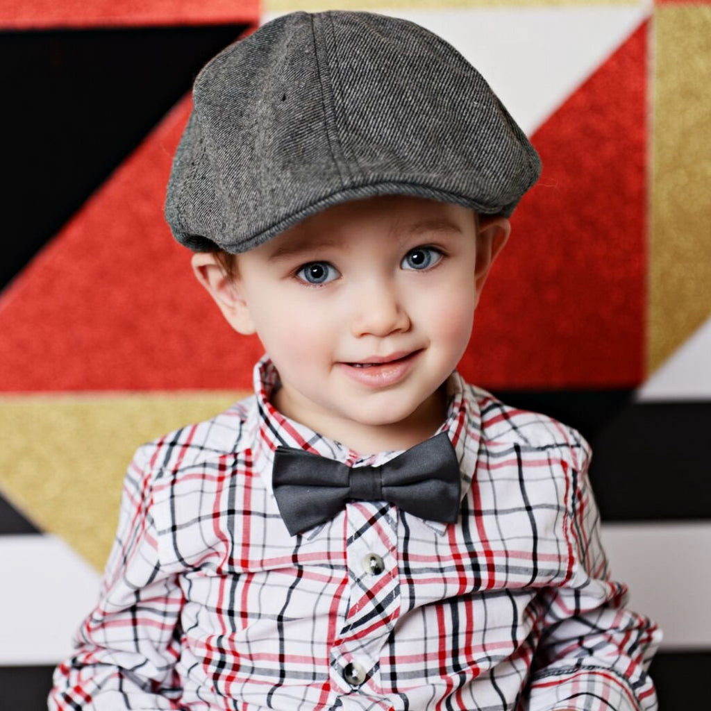 cotton gray tweed driving cap with brim for infant toddler child