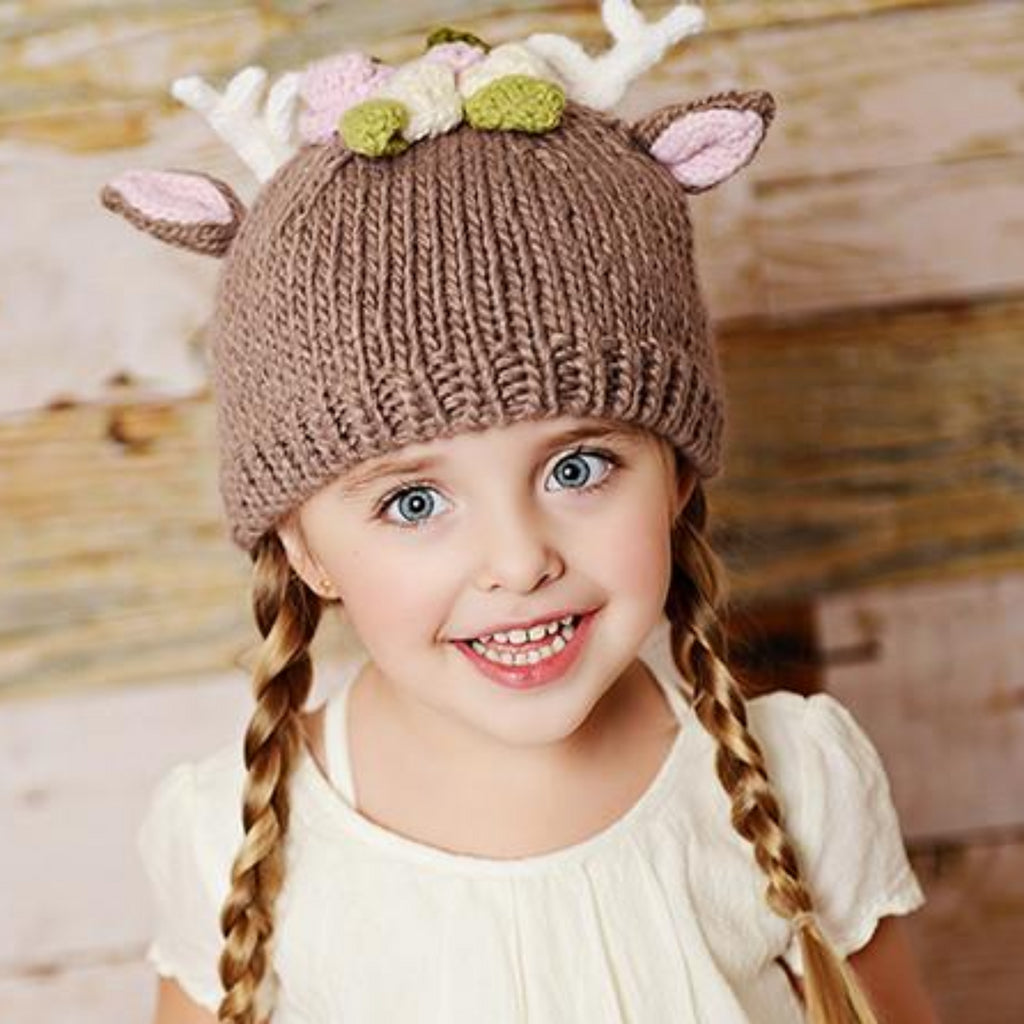 Tan Deer hat with white antlers and flowers