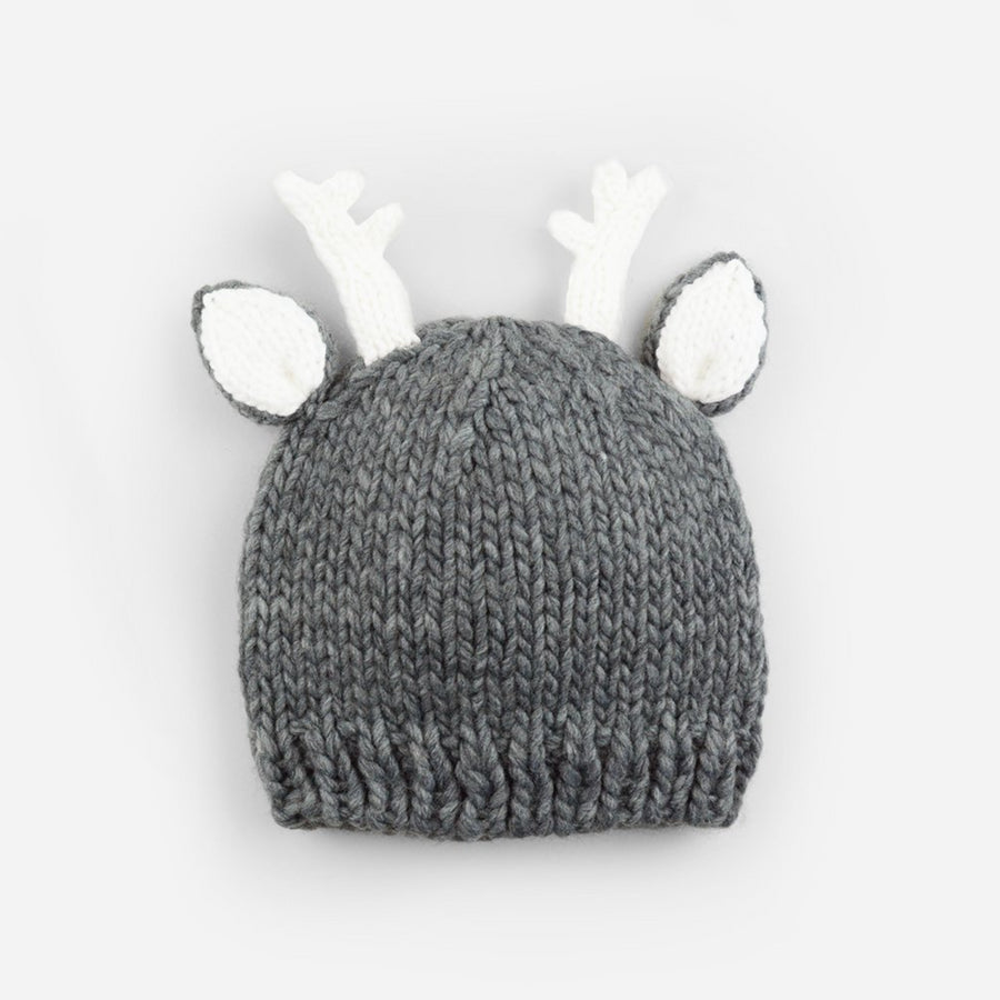 hand knit gray deer with white ears and white antlers for baby toddler infant child christmas winter holiday