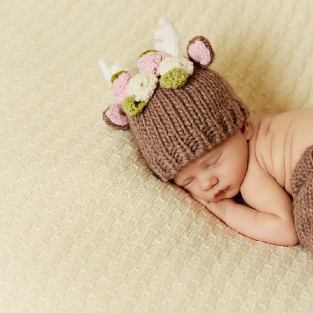 hand knit tan deer hat with pink ears and white antlers and flowers for baby infant toddler child christmas winter holiday