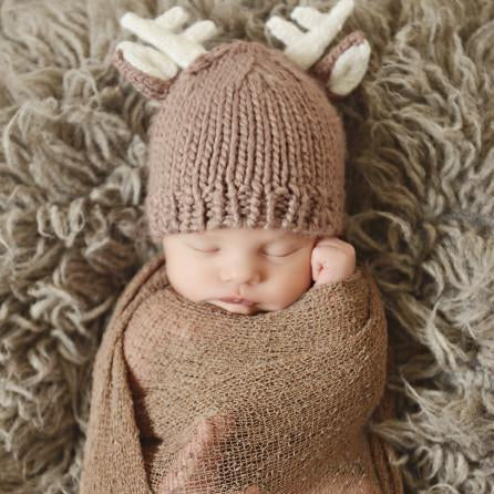 Tan Deer hat with white antlers