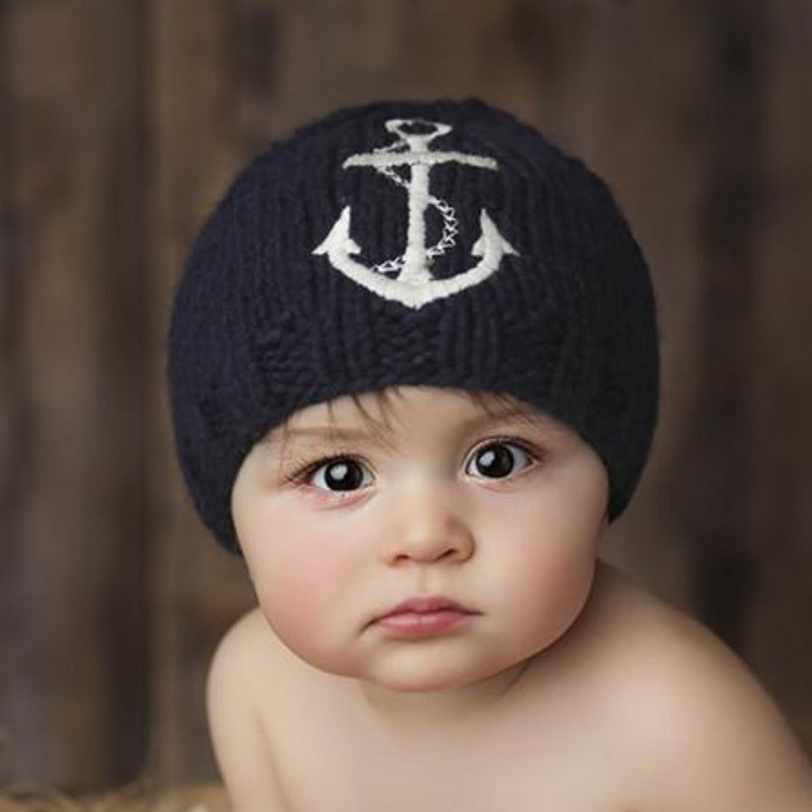 navy hat for baby and toddler with white emboridered anchor