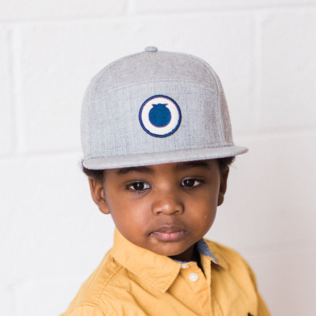 Grey snapback hat with Blueberry Hill logo patch