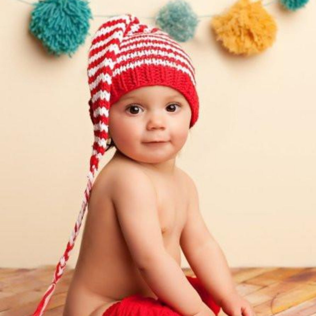 Red and white striped long hat