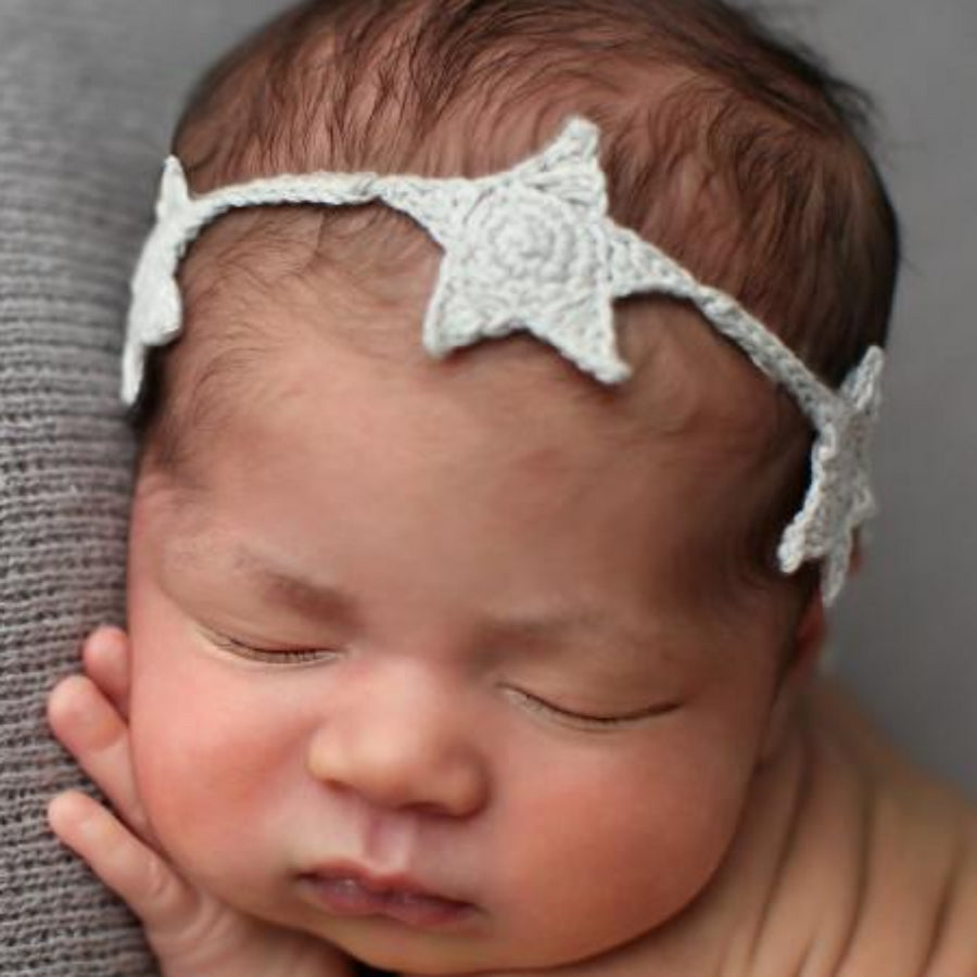crochet star headband tie back soft cream for baby and child