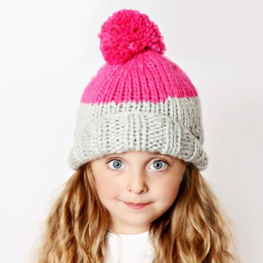 hand knit hat with foldover brim for kids in gray and neon yellow