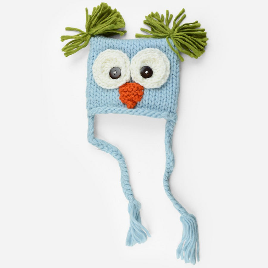 Hand Knit Owl hat with tassels and tufts in light blue