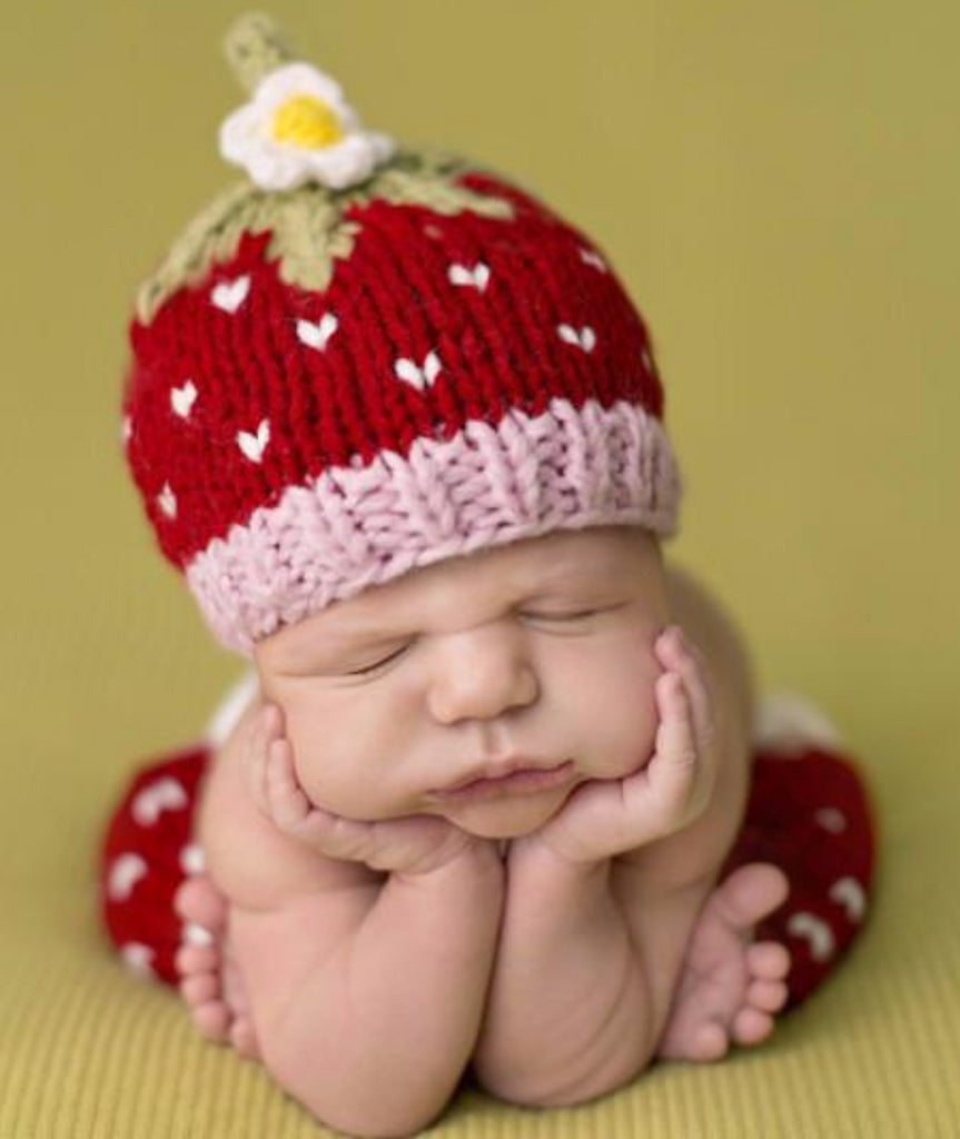 Red strawberry hat and pants set with white hearts accent
