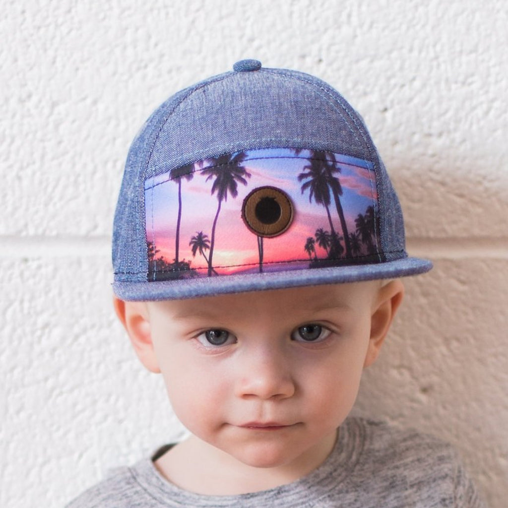 Denim blue snapback hat for kids with sunset print and leather logo 6-18 months, 1-3 years, 3-5 years