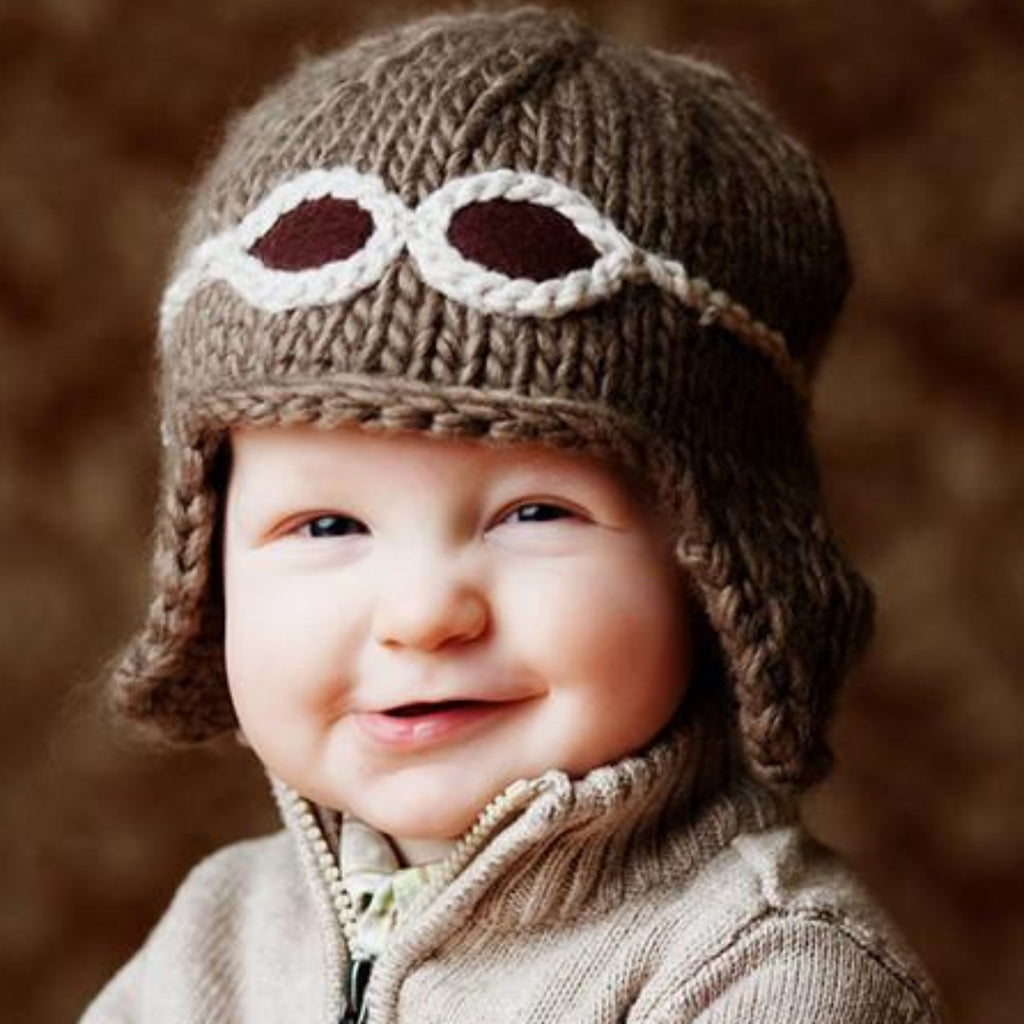 Tan taupe aviator hat for baby with cream goggles  medium