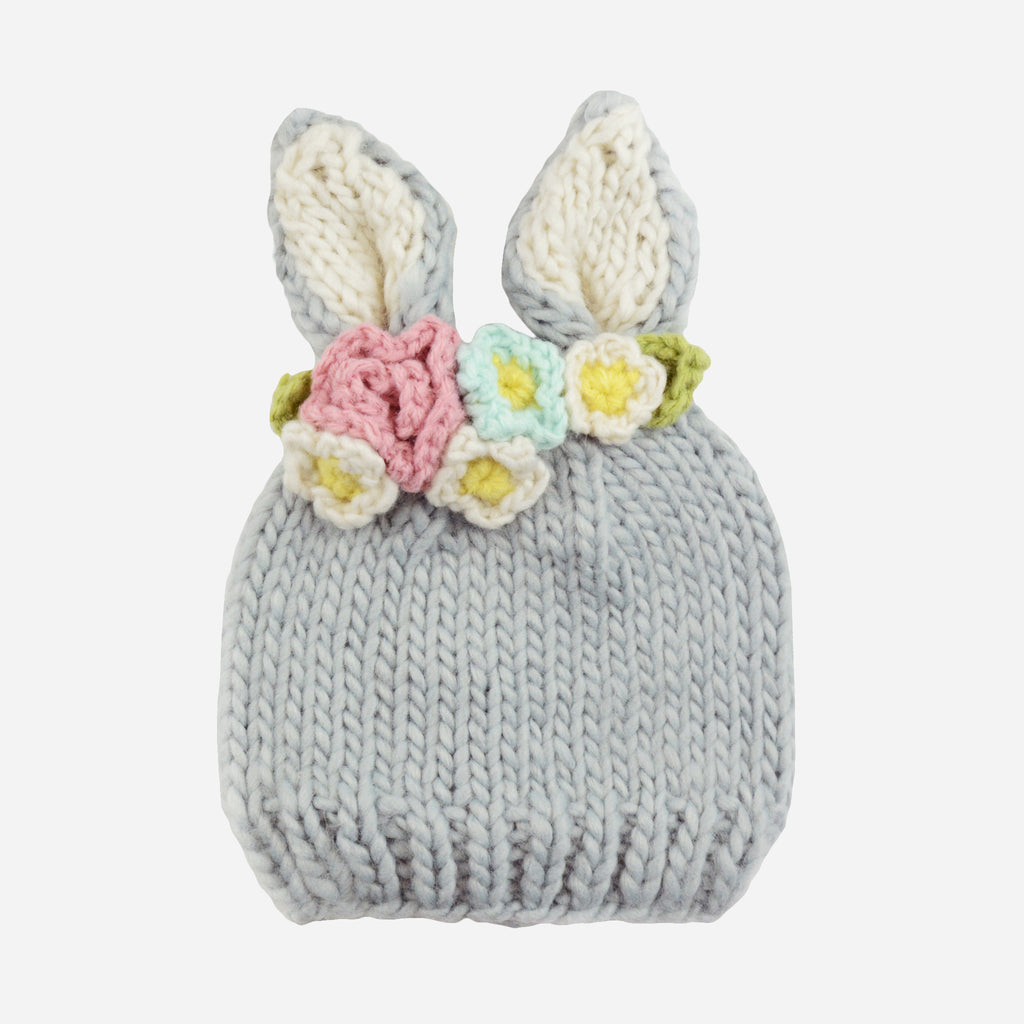Bailey Bunny with Flowers Hand-Knit Hat