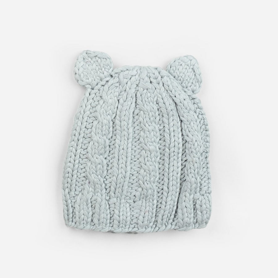 bamboo cotton blend gray cable knit hat with bear ears for baby infant toddler child