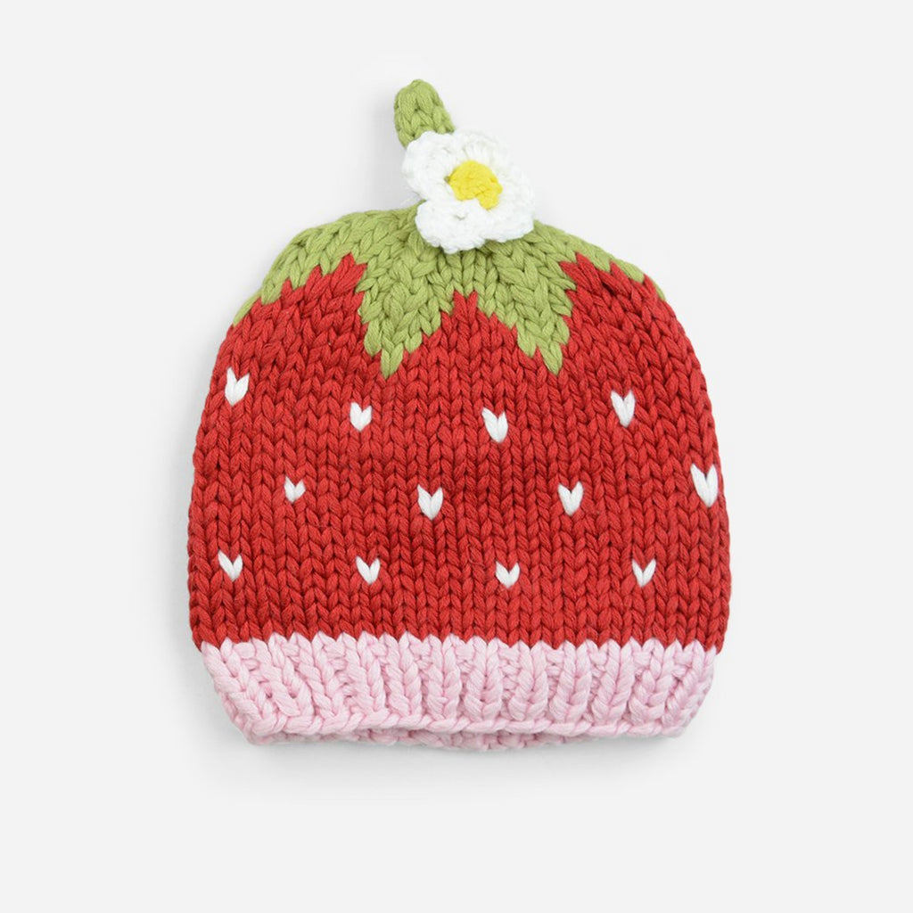 bamboo cotton blend strawberry red hat with white hearts, pink band, white flower accent for baby infant toddler child and newborn