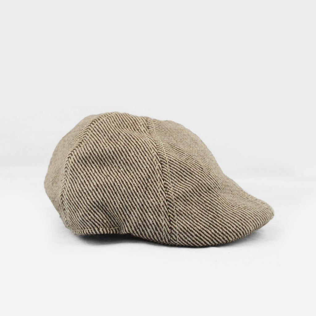 cotton brown tweed driving cap with brim for infant toddler child
