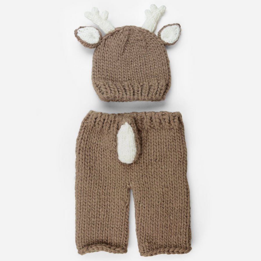 hand knit tan deer hat with white ears and white antlers pants with white tail set for newborns photography photoshoot
