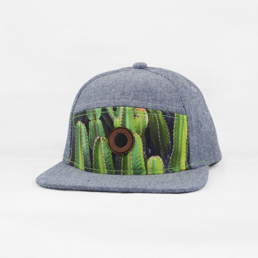 denim blue snapback hat for kids with cactus print and leather logo