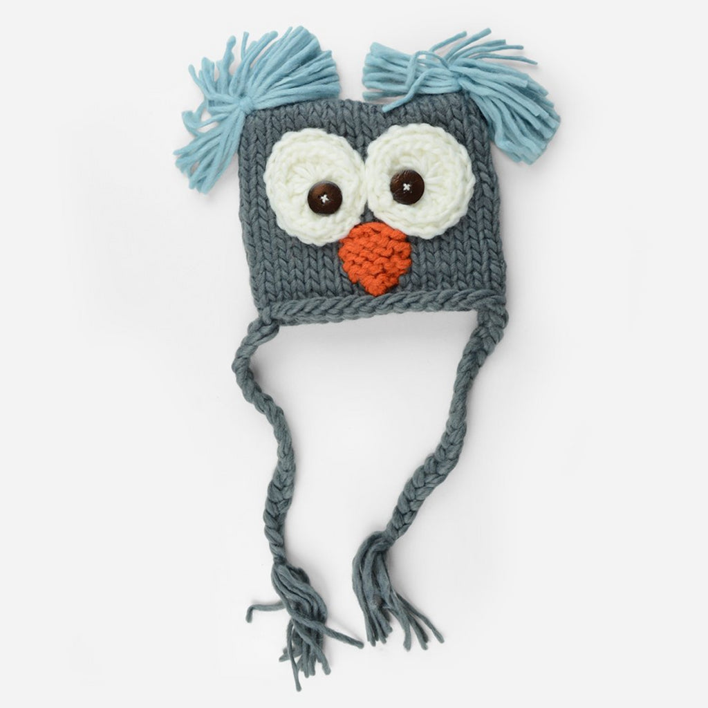 Hand Knit Owl hat with tassels and tufts in gray