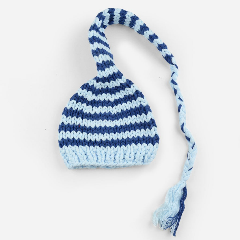 hand knit striped long cotton cap in blue and white stripes