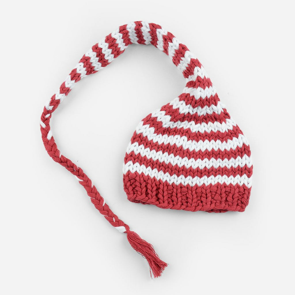 hand knit striped long cotton cap in red and white stripes