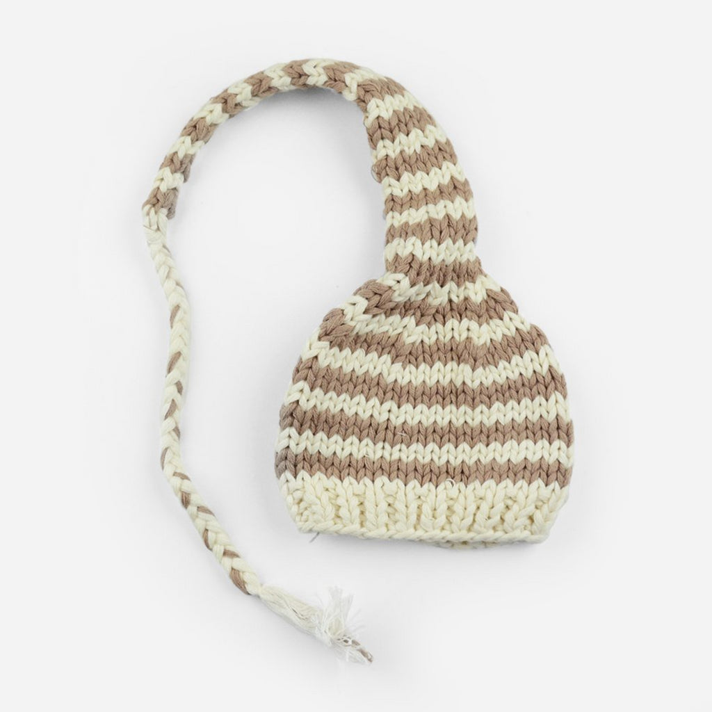 hand knit striped long cotton cap in tan and white stripes