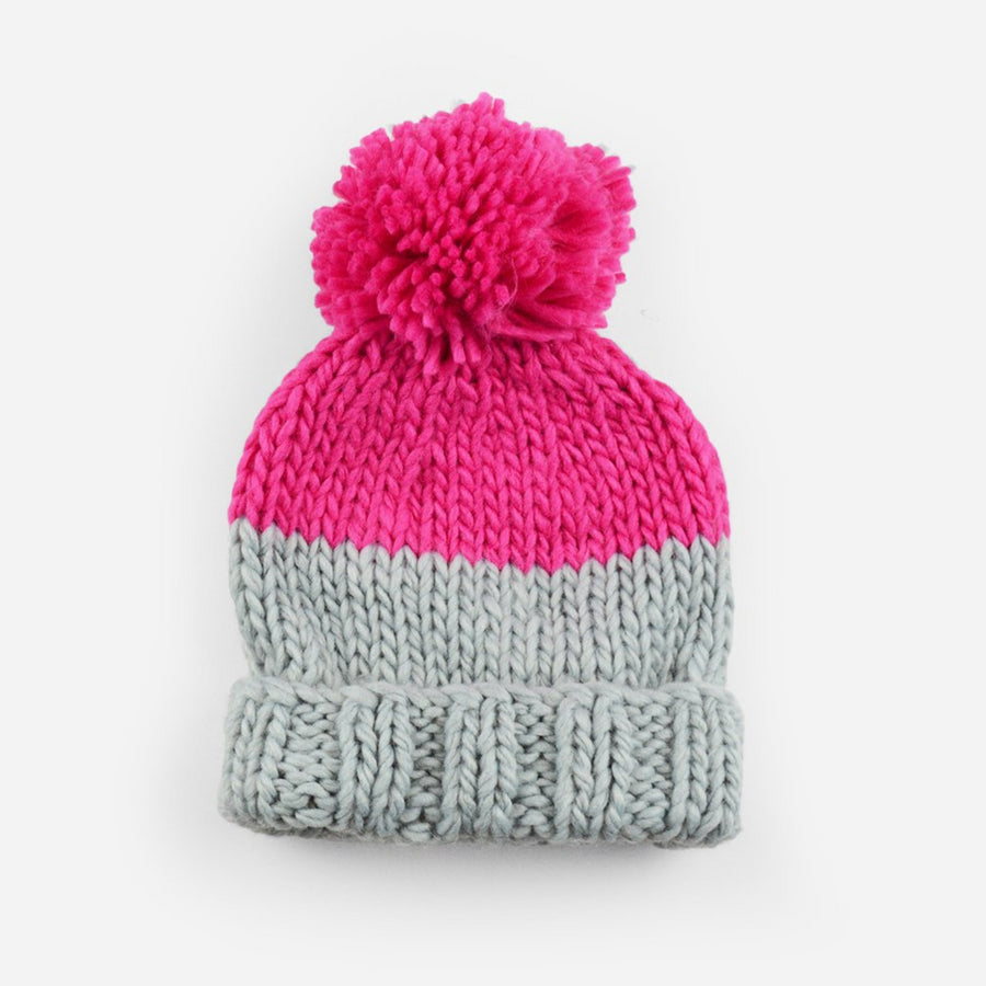 hand knit hat with foldover brim for kids in gray and neon pink
