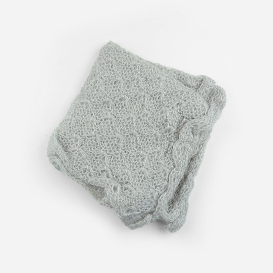 hand knit mohair wrap for newborns photo shoot in gray
