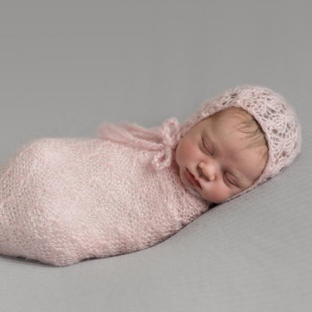 hand knit mohair wrap for newborns photo shoot in pink