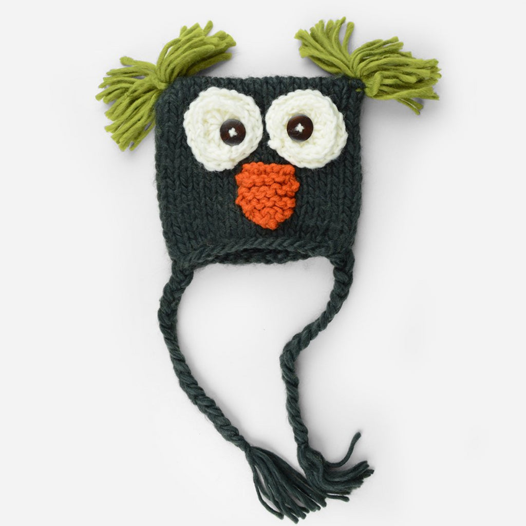 Hand Knit Owl hat with tassels and tufts in navy blue