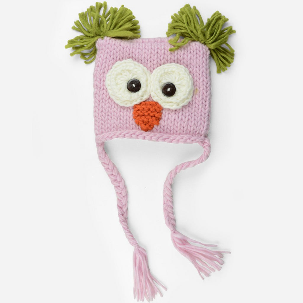 Hand Knit Owl hat with tassels and tufts in pink