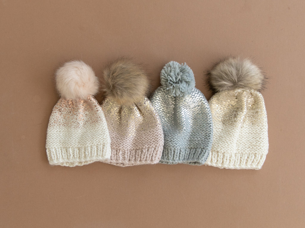 Pearl Metallic Hat with Fur Pom