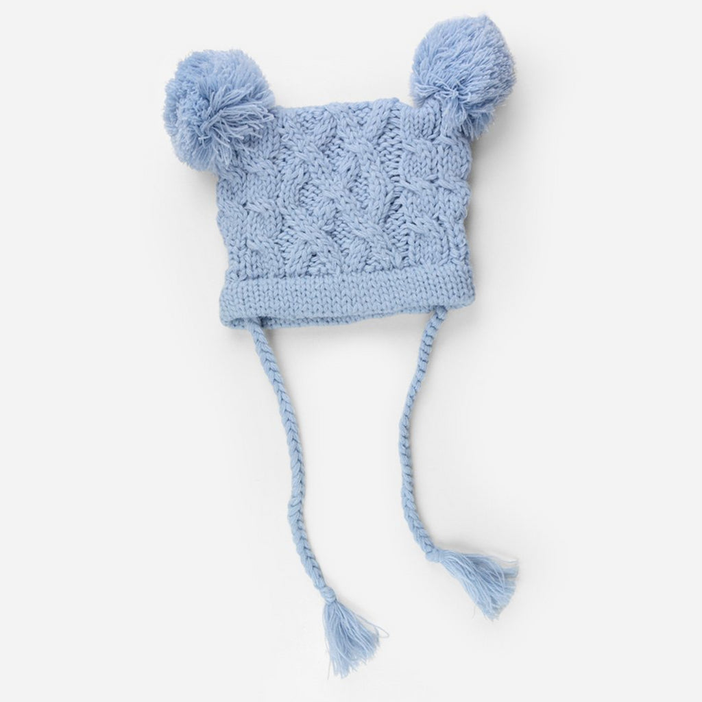 cable knit hat for baby with poms and tassels blue