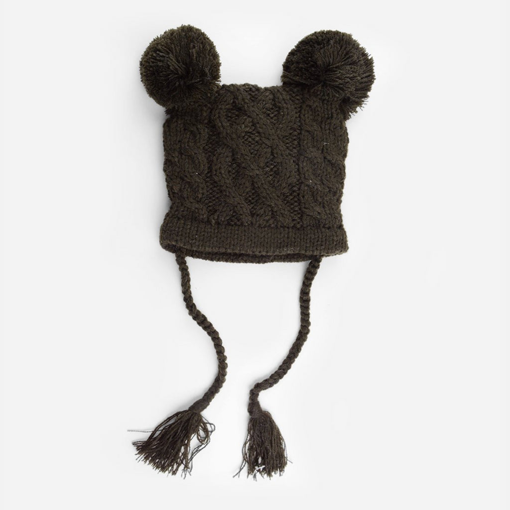 cable knit hat for baby with poms and tassels brown